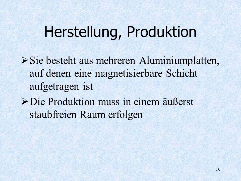 10 Herstellung, Produktion Sie besteht aus mehreren Aluminiumplatten, auf denen eine magnetisierbare Schicht aufgetragen ist Die Produktion muss in ei