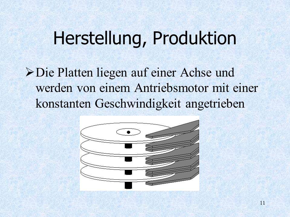 11 Herstellung, Produktion Die Platten liegen auf einer Achse und werden von einem Antriebsmotor mit einer konstanten Geschwindigkeit angetrieben