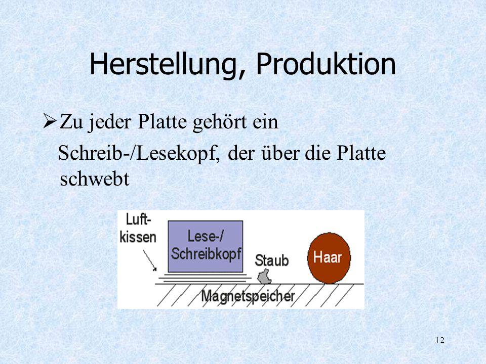12 Herstellung, Produktion Zu jeder Platte gehört ein Schreib-/Lesekopf, der über die Platte schwebt