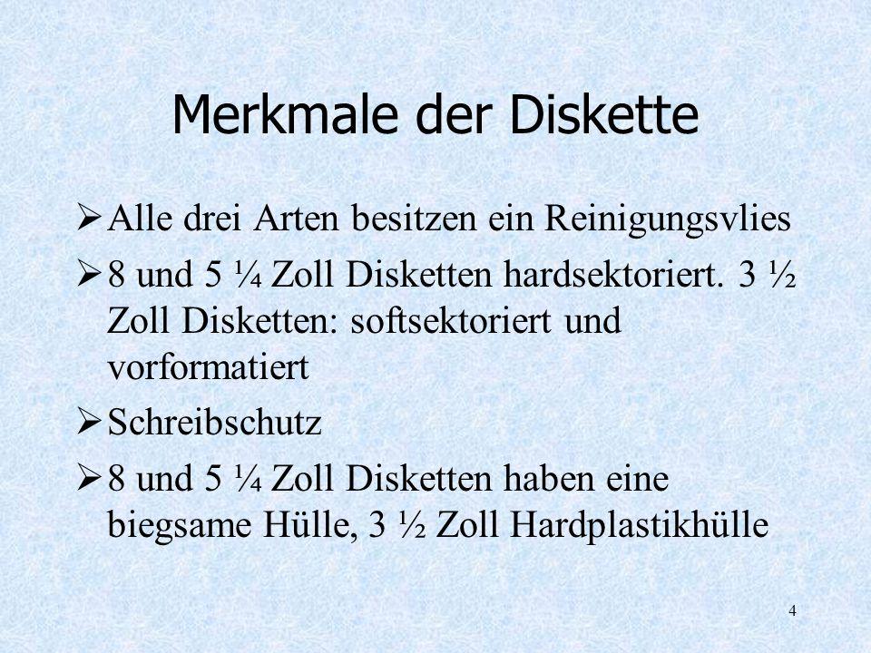 4 Merkmale der Diskette Alle drei Arten besitzen ein Reinigungsvlies 8 und 5 ¼ Zoll Disketten hardsektoriert. 3 ½ Zoll Disketten: softsektoriert und v