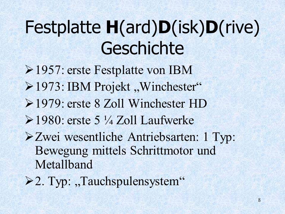8 Festplatte H(ard)D(isk)D(rive) Geschichte 1957: erste Festplatte von IBM 1973: IBM Projekt Winchester 1979: erste 8 Zoll Winchester HD 1980: erste 5