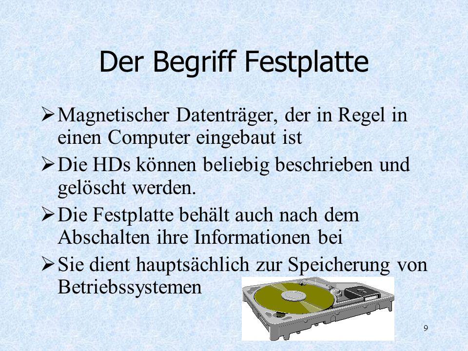 9 Der Begriff Festplatte Magnetischer Datenträger, der in Regel in einen Computer eingebaut ist Die HDs können beliebig beschrieben und gelöscht werde