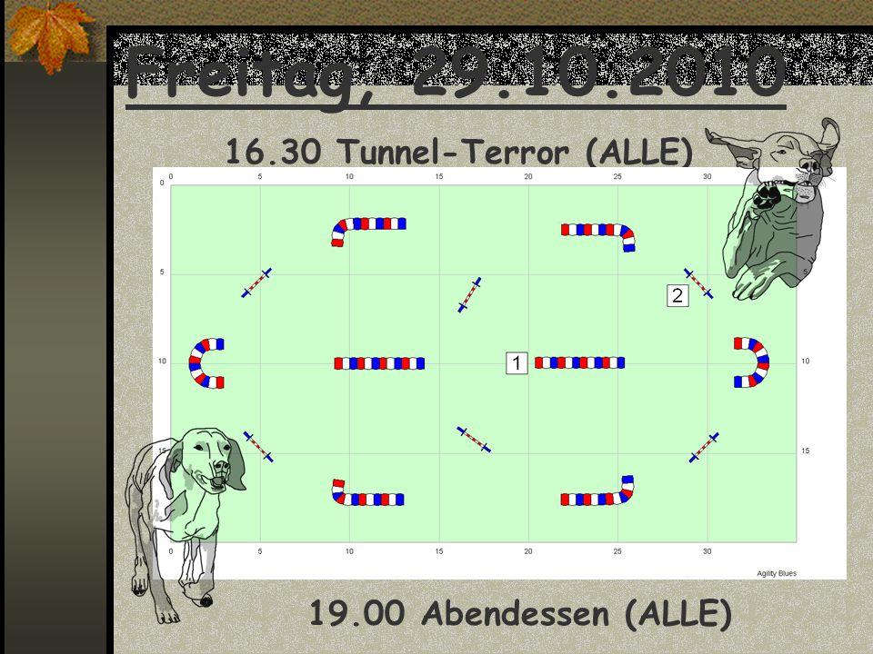 Freitag, 29.10.2010 16.30 Tunnel-Terror (ALLE) 19.00 Abendessen (ALLE)
