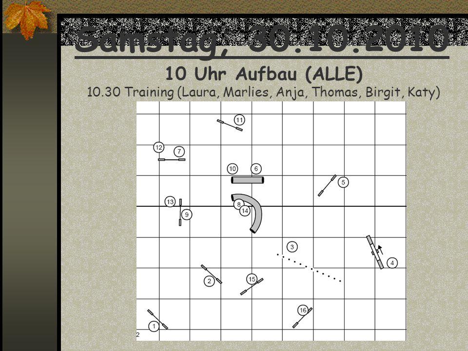 Samstag, 30.10.2010 10 Uhr Aufbau (ALLE) 10.30 Training (Laura, Marlies, Anja, Thomas, Birgit, Katy)