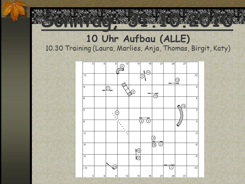 Sonntag, 31.10.2010 10 Uhr Aufbau (ALLE) 10.30 Training (Laura, Marlies, Anja, Thomas, Birgit, Katy)