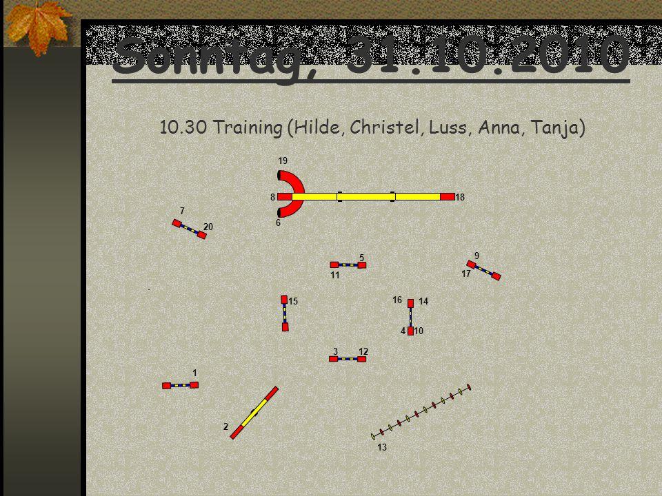Sonntag, 31.10.2010 10.30 Training (Hilde, Christel, Luss, Anna, Tanja) 1 2 3 5 6 7 8 9 10 11 12 13 1415 16 17 18 19 4 20