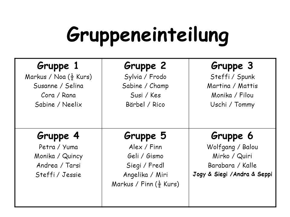 Gruppeneinteilung Gruppe 1 Markus / Noa (½ Kurs) Susanne / Selina Cora / Rana Sabine / Neelix Gruppe 2 Sylvia / Frodo Sabine / Champ Susi / Kes Bärbel