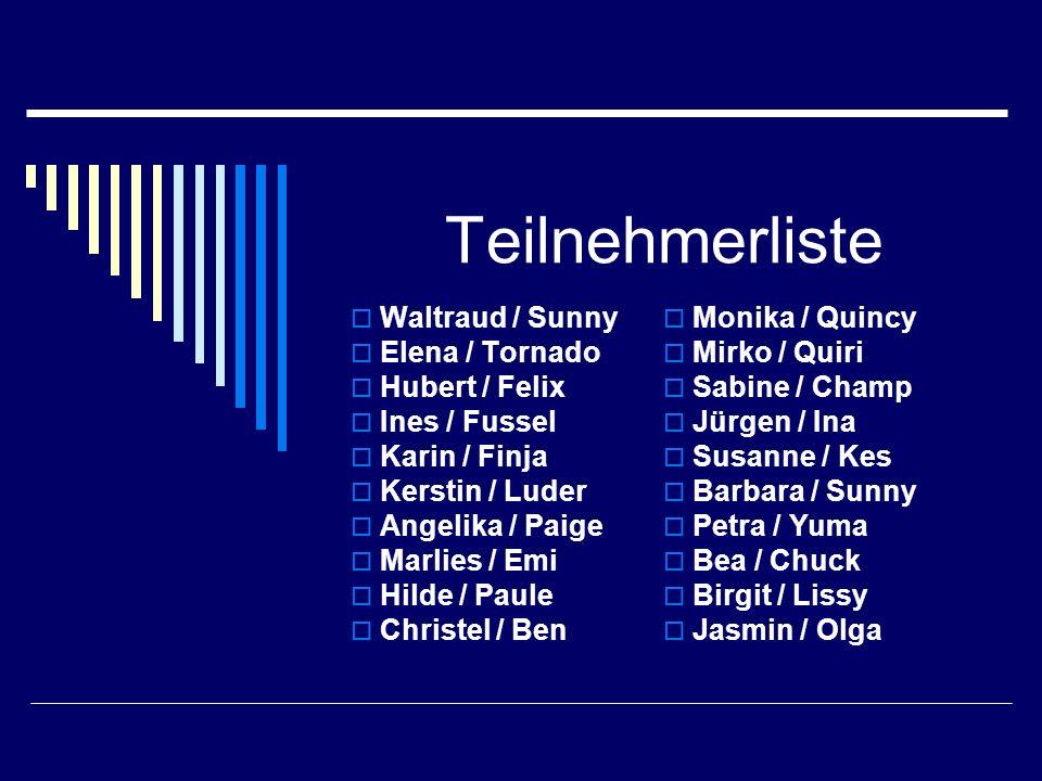 Teilnehmerliste Waltraud / Sunny Elena / Tornado Hubert / Felix Ines / Fussel Karin / Finja Kerstin / Luder Angelika / Paige Marlies / Emi Hilde / Pau