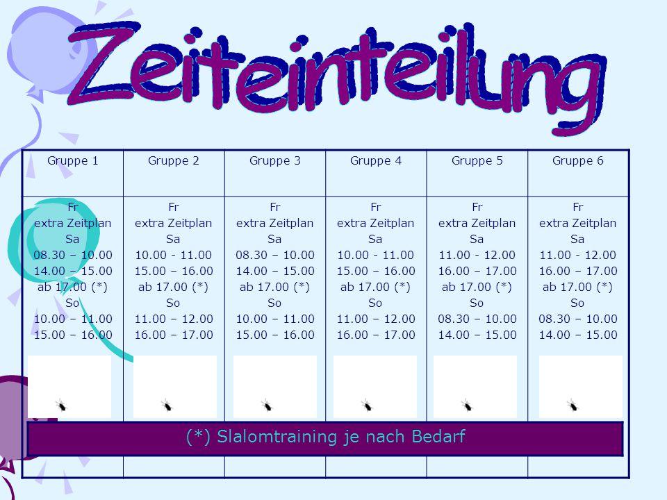 Gruppe 1Gruppe 2Gruppe 3Gruppe 4Gruppe 5Gruppe 6 Fr extra Zeitplan Sa 08.30 – 10.00 14.00 – 15.00 ab 17.00 (*) So 10.00 – 11.00 15.00 – 16.00 Fr extra