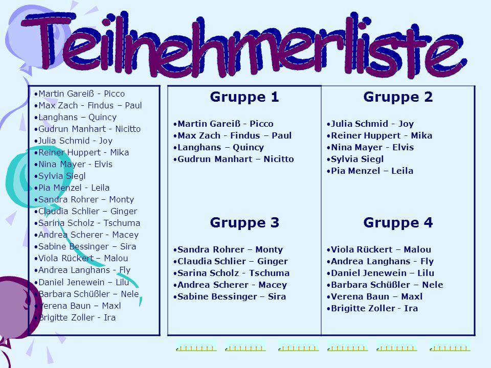 Martin Gareiß - Picco Max Zach - Findus – Paul Langhans – Quincy Gudrun Manhart - Nicitto Julia Schmid - Joy Reiner Huppert - Mika Nina Mayer - Elvis