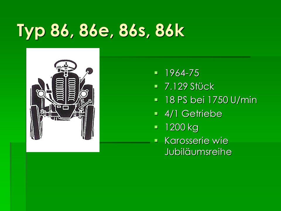 Typ 84s 1956-64 1956-64 639 Stück 639 Stück 18 PS bei 1750 U/min 18 PS bei 1750 U/min 4/1 Getriebe 4/1 Getriebe 1220 kg 1220 kg Schmalspur Schmalspur