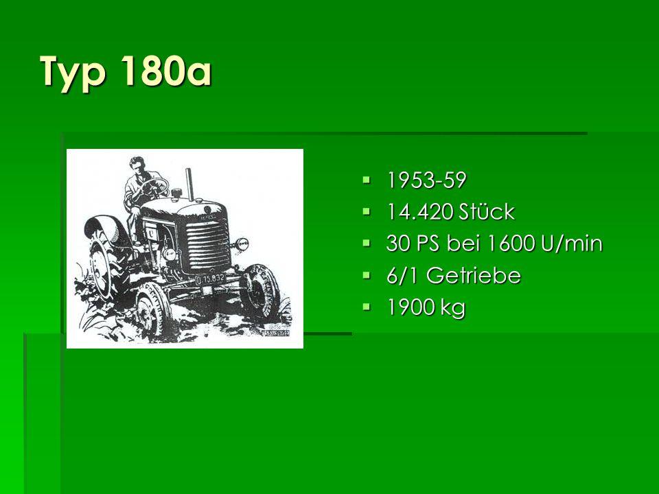 Typ 180 1947-53 1947-53 25.302 Stück 25.302 Stück 26 PS bei 1500 U/min 30 PS bei 1600 U/min 26 PS bei 1500 U/min 30 PS bei 1600 U/min 5/1 Getriebe 5/1 Getriebe 1800 kg 1800 kg