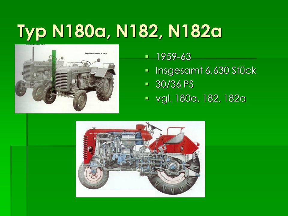 Typ 182a 1959-62 1959-62 303 Stück 303 Stück 36 PS bei 1700 U/min 36 PS bei 1700 U/min 8/4 Gruppengetriebe 8/4 Gruppengetriebe 1900 kg 1900 kg Rote Haube mit Bug Rote Haube mit Bug