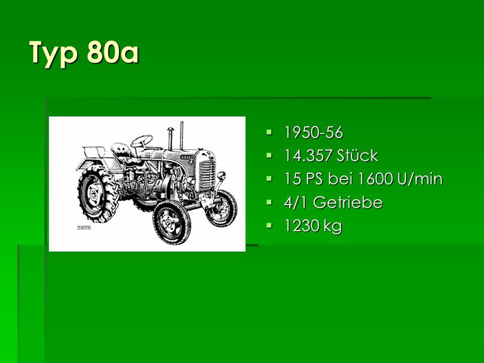 Typ 80 1949-64 1949-64 45.068 Stück 45.068 Stück 13 PS bei 1500 U/min 15 PS bei 1600 U/min 13 PS bei 1500 U/min 15 PS bei 1600 U/min 4/1 Getriebe 4/1 Getriebe 1200 kg 1200 kg