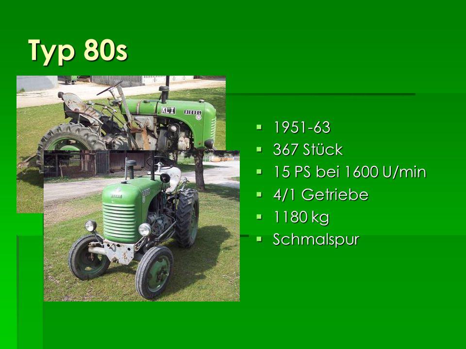 Typ 80a 1950-56 1950-56 14.357 Stück 14.357 Stück 15 PS bei 1600 U/min 15 PS bei 1600 U/min 4/1 Getriebe 4/1 Getriebe 1230 kg 1230 kg