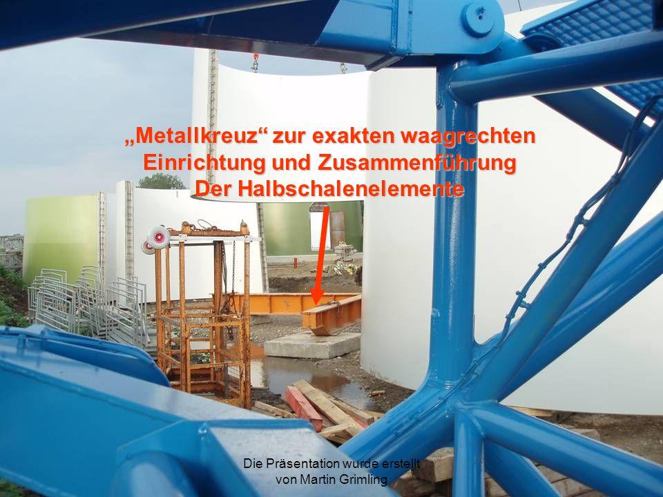 Metallkreuz zur exakten waagrechten Einrichtung und Zusammenführung Der Halbschalenelemente