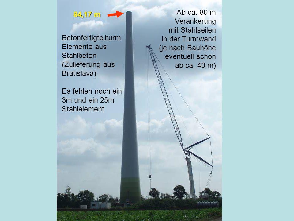 Die Präsentation wurde erstellt von Martin Grimling 84,17 m Ab ca. 80 m Verankerung mit Stahlseilen in der Turmwand (je nach Bauhöhe eventuell schon a