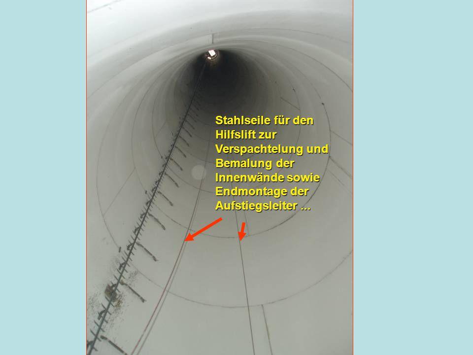 Die Präsentation wurde erstellt von Martin Grimling Stahlseile für den Hilfslift zur Verspachtelung und Bemalung der Innenwände sowie Endmontage der A