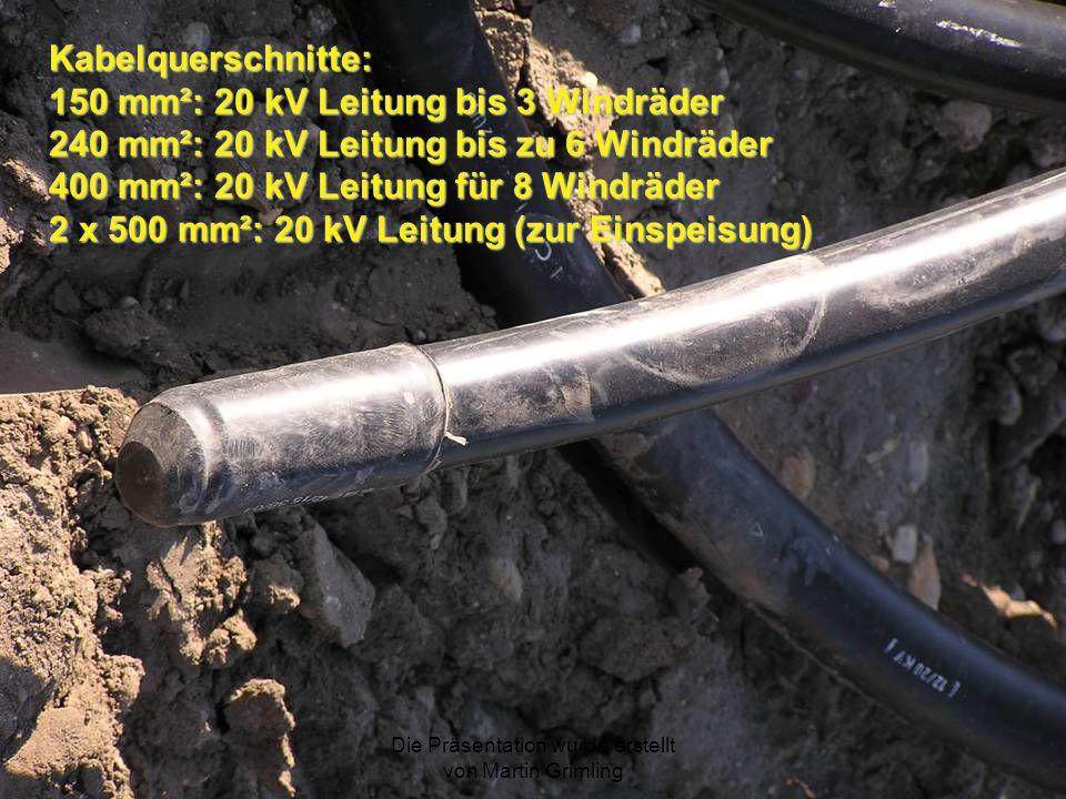 Die Präsentation wurde erstellt von Martin Grimling Kabelquerschnitte: 150 mm²: 20 kV Leitung bis 3 Windräder 240 mm²: 20 kV Leitung bis zu 6 Windräde