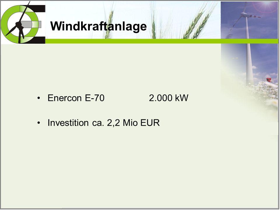 Windkraftanlage Enercon E-702.000 kW Investition ca. 2,2 Mio EUR