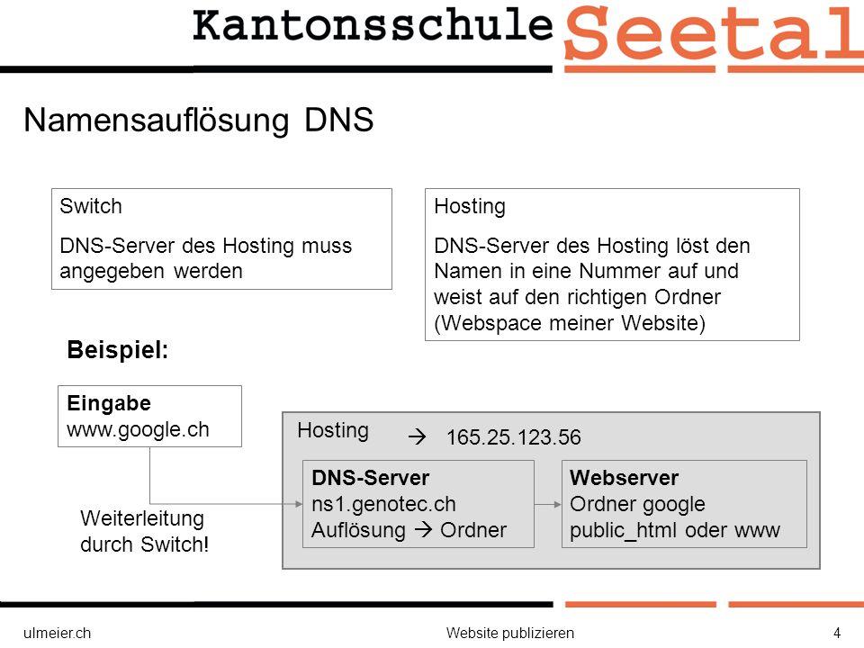ulmeier.chWebsite publizieren4 Hosting Namensauflösung DNS Eingabe www.google.ch Switch DNS-Server des Hosting muss angegeben werden Hosting DNS-Server des Hosting löst den Namen in eine Nummer auf und weist auf den richtigen Ordner (Webspace meiner Website) Beispiel: Webserver Ordner google public_html oder www Weiterleitung durch Switch.