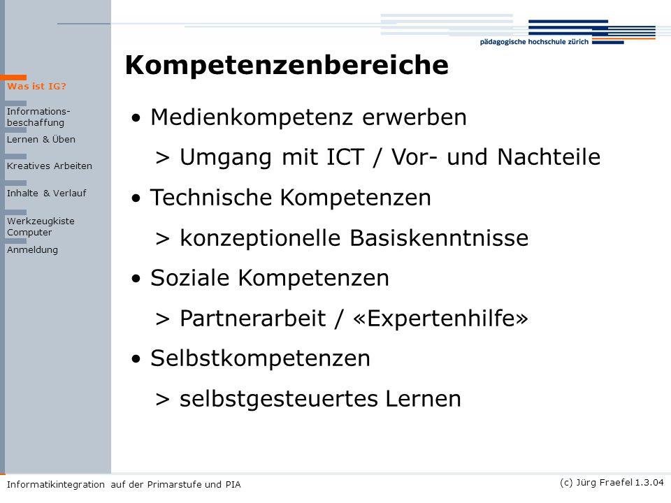 (c) Jürg Fraefel 1.3.04 Informatikintegration auf der Primarstufe und PIA Kompetenzenbereiche Informations- beschaffung Lernen & Üben Kreatives Arbeit