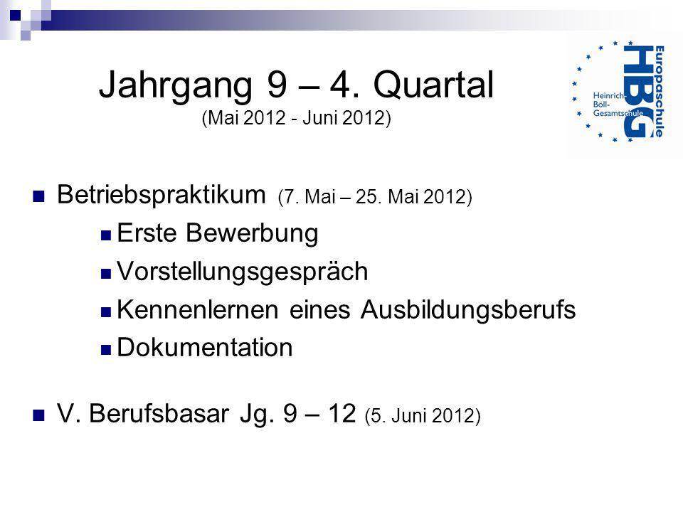 Jahrgang 9 – 4. Quartal (Mai 2012 - Juni 2012) Betriebspraktikum (7. Mai – 25. Mai 2012) Erste Bewerbung Vorstellungsgespräch Kennenlernen eines Ausbi