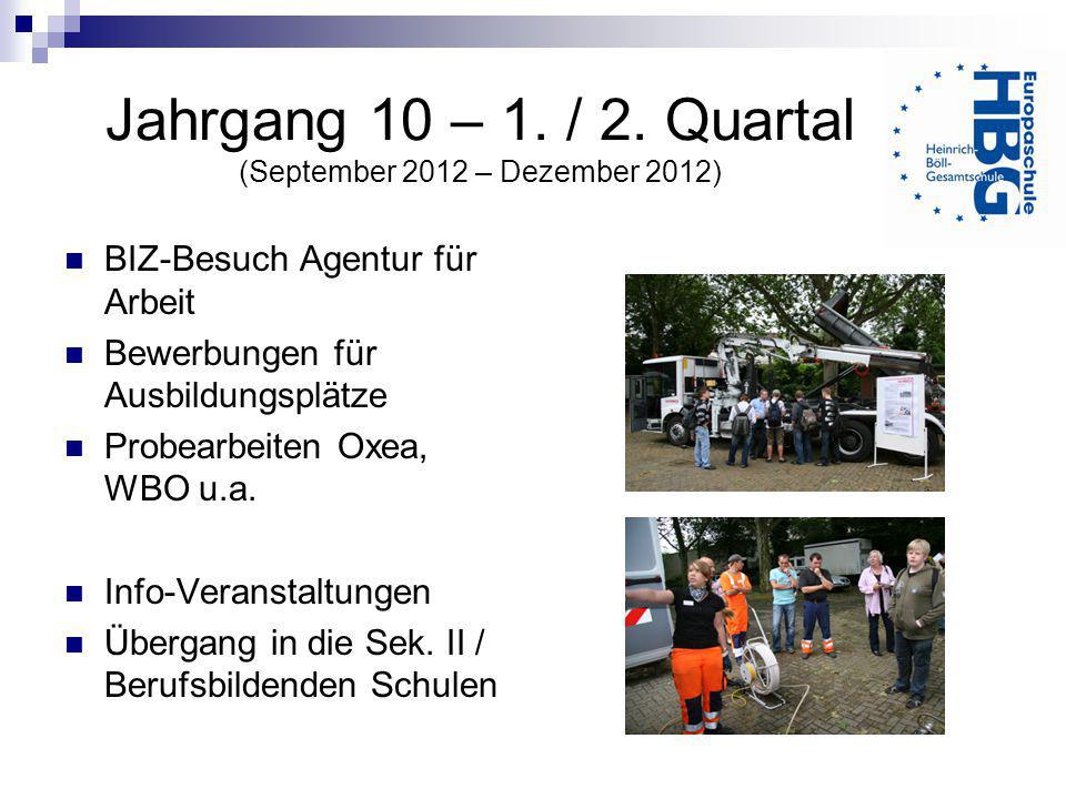 Jahrgang 10 – 1. / 2. Quartal (September 2012 – Dezember 2012) BIZ-Besuch Agentur für Arbeit Bewerbungen für Ausbildungsplätze Probearbeiten Oxea, WBO