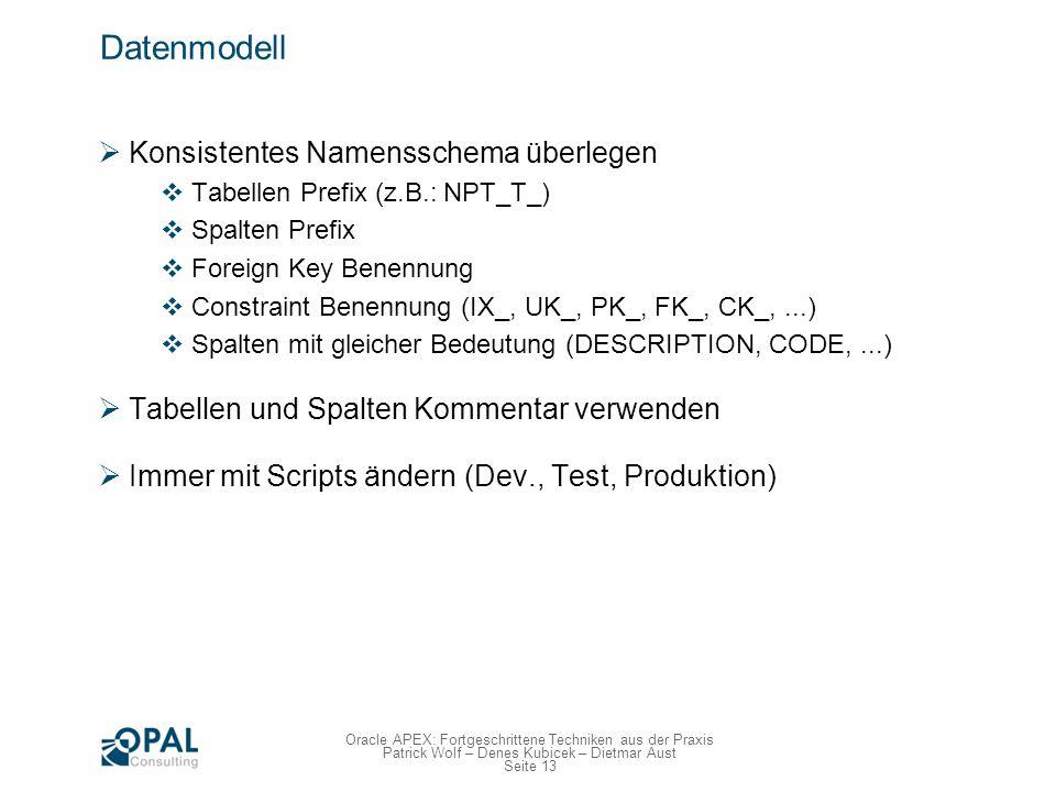 Seite 13 Oracle APEX: Fortgeschrittene Techniken aus der Praxis Patrick Wolf – Denes Kubicek – Dietmar Aust Datenmodell Konsistentes Namensschema über