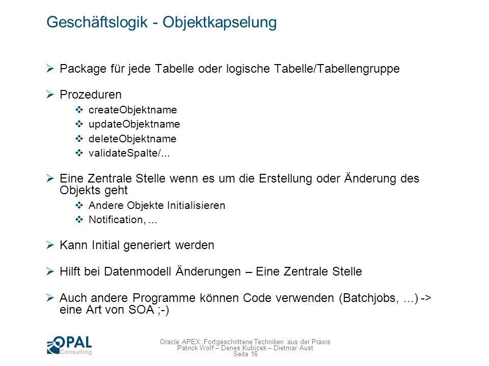 Seite 16 Oracle APEX: Fortgeschrittene Techniken aus der Praxis Patrick Wolf – Denes Kubicek – Dietmar Aust Geschäftslogik - Objektkapselung Package f