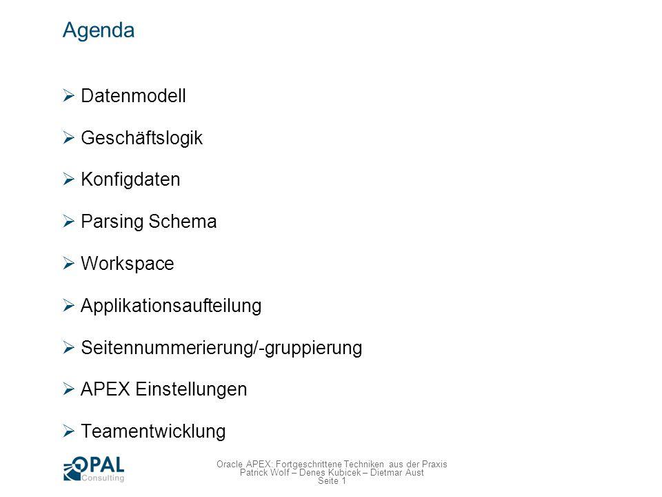 Seite 12 Oracle APEX: Fortgeschrittene Techniken aus der Praxis Patrick Wolf – Denes Kubicek – Dietmar Aust Datenmodell Domänen überlegen Vereinheitlichung der Datentypen Z.B.: Spalte DESCRIPTION ist immer VARCHAR2(40) Booleans NUMBER(1) mit Constraint auf 0 (FALSE) und 1 (TRUE) Normalerweise NOT NULL.