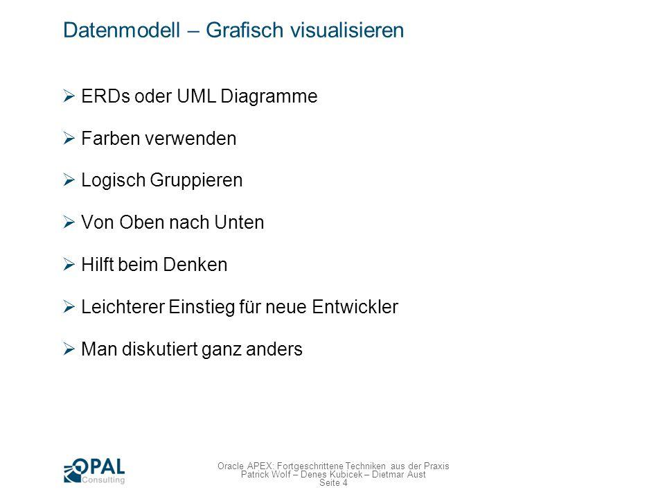 Seite 4 Oracle APEX: Fortgeschrittene Techniken aus der Praxis Patrick Wolf – Denes Kubicek – Dietmar Aust Datenmodell – Grafisch visualisieren ERDs o