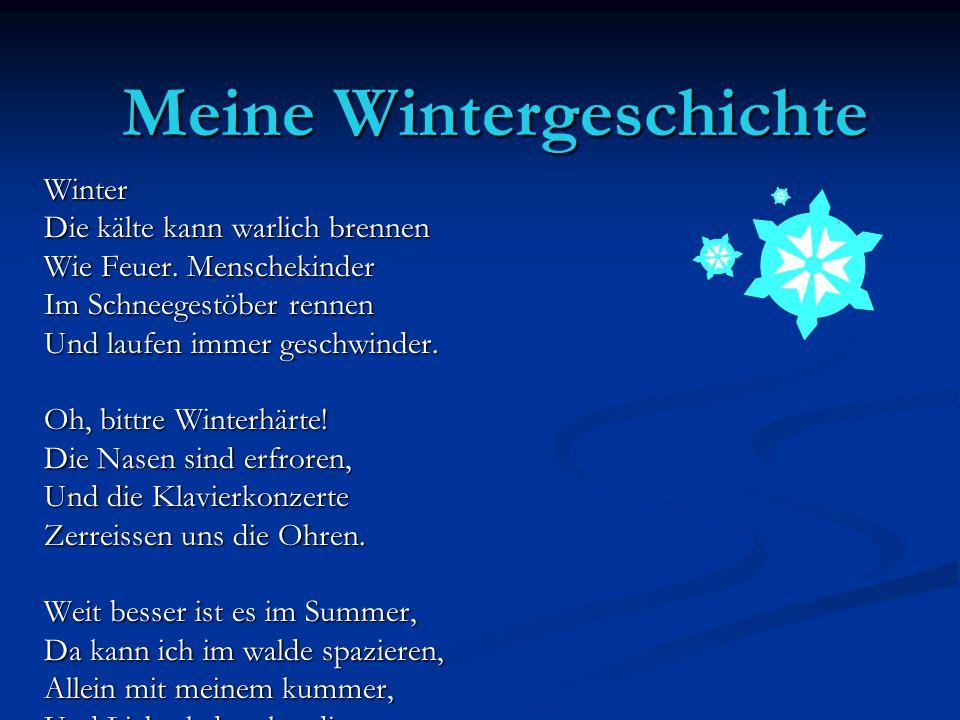 Meine Wintergeschichte Winter Die kälte kann warlich brennen Wie Feuer. Menschekinder Im Schneegestöber rennen Und laufen immer geschwinder. Oh, bittr