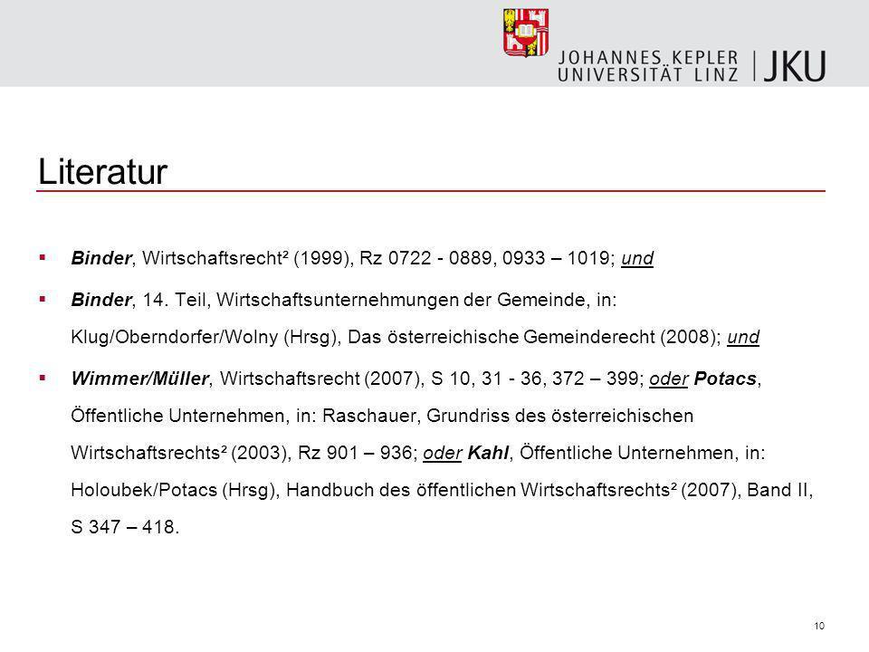 10 Literatur Binder, Wirtschaftsrecht² (1999), Rz 0722 - 0889, 0933 – 1019; und Binder, 14.