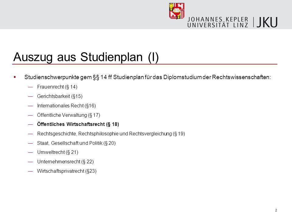 3 Auszug aus Studienplan (II) § 18.Öffentliches Wirtschaftsrecht 1.