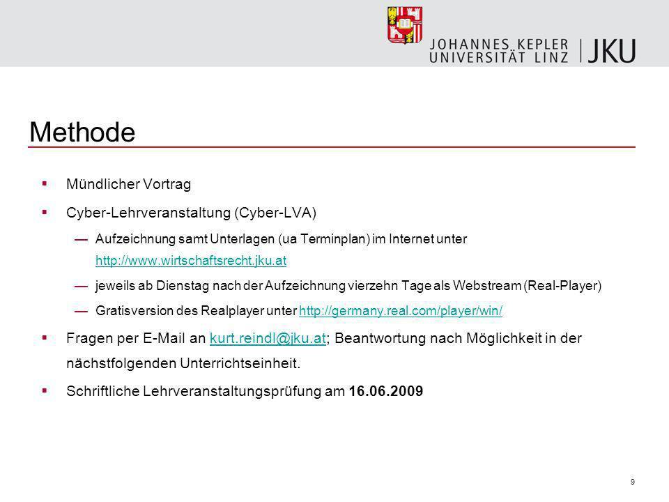 9 Methode Mündlicher Vortrag Cyber-Lehrveranstaltung (Cyber-LVA) Aufzeichnung samt Unterlagen (ua Terminplan) im Internet unter http://www.wirtschaftsrecht.jku.at http://www.wirtschaftsrecht.jku.at jeweils ab Dienstag nach der Aufzeichnung vierzehn Tage als Webstream (Real-Player) Gratisversion des Realplayer unter http://germany.real.com/player/win/http://germany.real.com/player/win/ Fragen per E-Mail an kurt.reindl@jku.at; Beantwortung nach Möglichkeit in der nächstfolgenden Unterrichtseinheit.kurt.reindl@jku.at Schriftliche Lehrveranstaltungsprüfung am 16.06.2009
