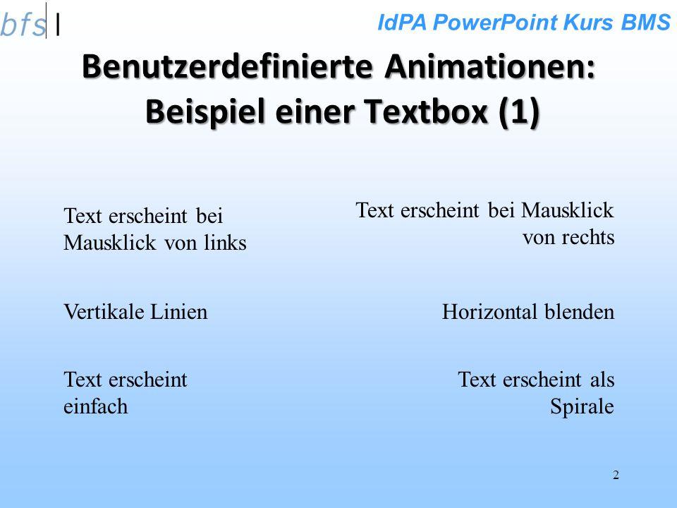 IdPA PowerPoint Kurs BMS 2 Text erscheint bei Mausklick von links Text erscheint bei Mausklick von rechts Benutzerdefinierte Animationen: Beispiel einer Textbox (1) Text erscheint einfach Text erscheint als Spirale Vertikale LinienHorizontal blenden