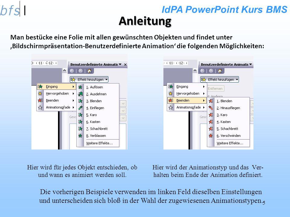 IdPA PowerPoint Kurs BMS 5 Anleitung Hier wird für jedes Objekt entschieden, ob und wann es animiert werden soll.