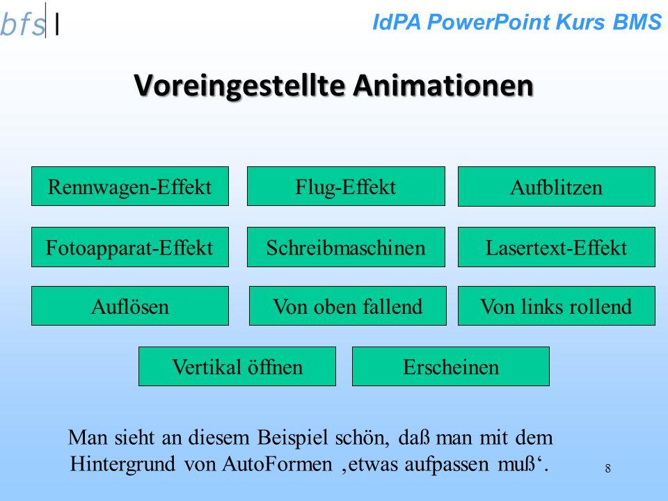 IdPA PowerPoint Kurs BMS 8 Voreingestellte Animationen Rennwagen-EffektFlug-Effekt Fotoapparat-Effekt Aufblitzen Lasertext-EffektSchreibmaschinen Von oben fallend Von links rollendAuflösen Vertikal öffnenErscheinen Man sieht an diesem Beispiel schön, daß man mit dem Hintergrund von AutoFormen etwas aufpassen muß.