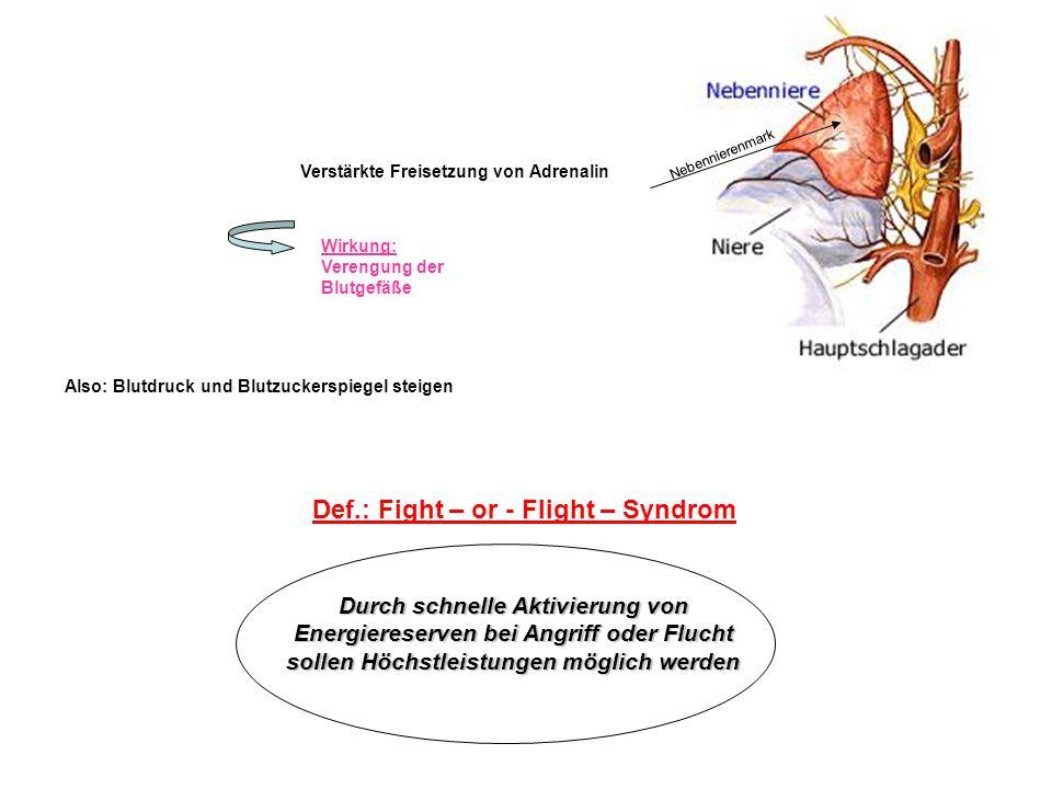 Verstärkte Freisetzung von Adrenalin Nebennierenmark Wirkung: Verengung der Blutgefäße Also: Blutdruck und Blutzuckerspiegel steigen Def.: Fight – or