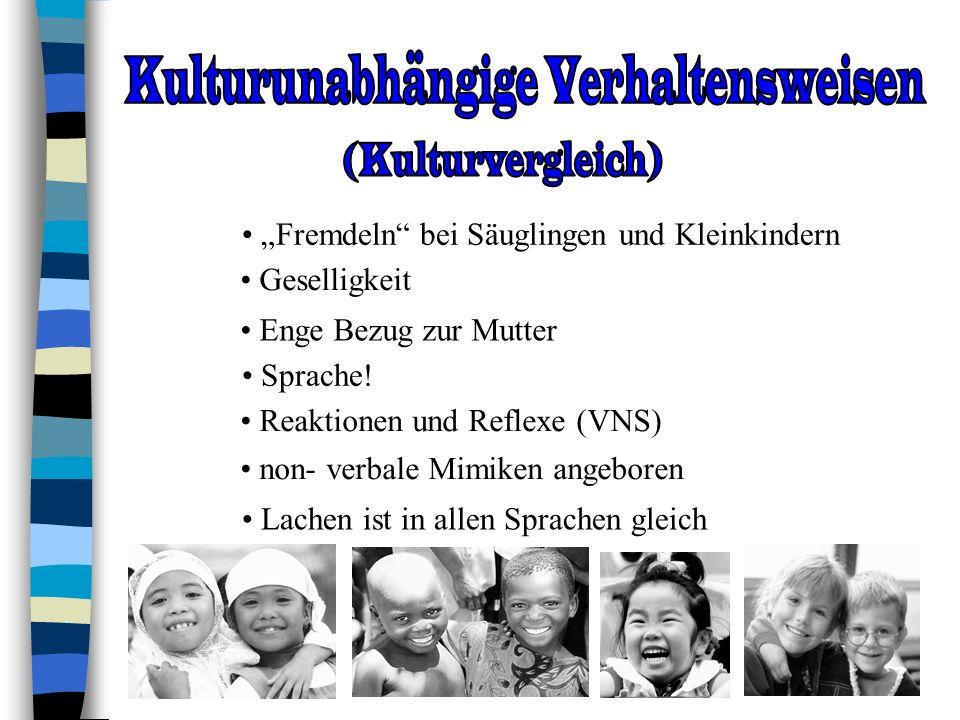 Fremdeln bei Säuglingen und Kleinkindern Sprache! Lachen ist in allen Sprachen gleich Enge Bezug zur Mutter non- verbale Mimiken angeboren Reaktionen