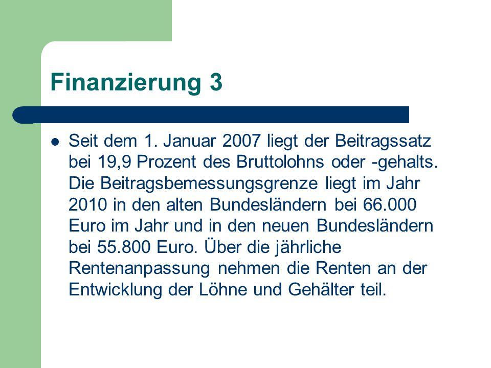 Finanzierung 3 Seit dem 1. Januar 2007 liegt der Beitragssatz bei 19,9 Prozent des Bruttolohns oder -gehalts. Die Beitragsbemessungsgrenze liegt im Ja