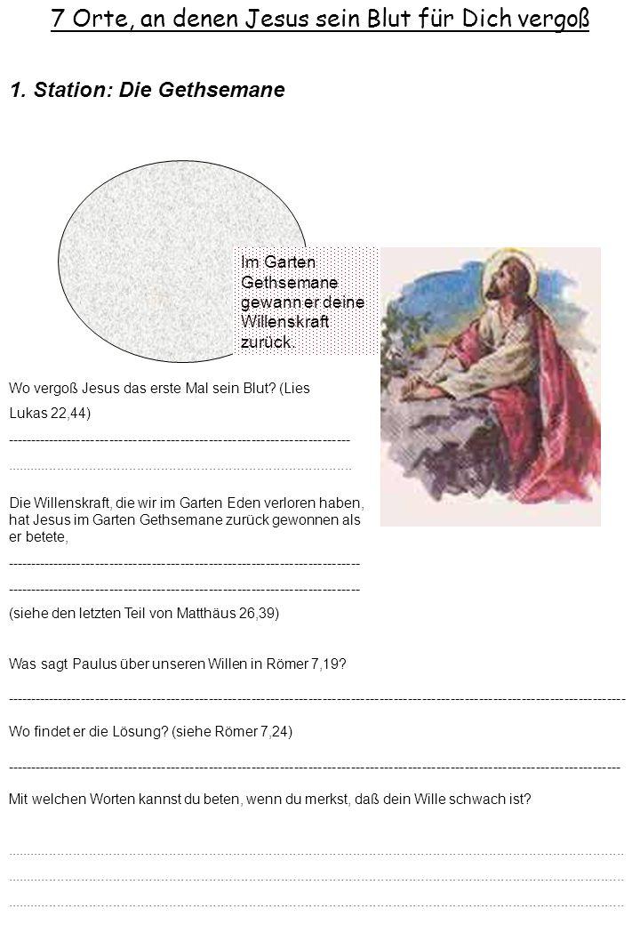 7 Orte, an denen Jesus sein Blut für Dich vergoß Im Garten Gethsemane gewann er deine Willenskraft zurück. 1. Station: Die Gethsemane Die Willenskraft