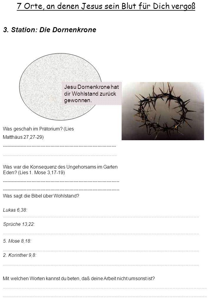 7 Orte, an denen Jesus sein Blut für Dich vergoß Jesu Dornenkrone hat dir Wohlstand zurück gewonnen. 3. Station: Die Dornenkrone Was war die Konsequen