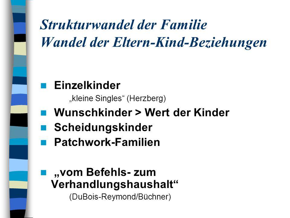 Strukturwandel der Familie Wandel der Eltern-Kind-Beziehungen Einzelkinder kleine Singles (Herzberg) Wunschkinder > Wert der Kinder Scheidungskinder P