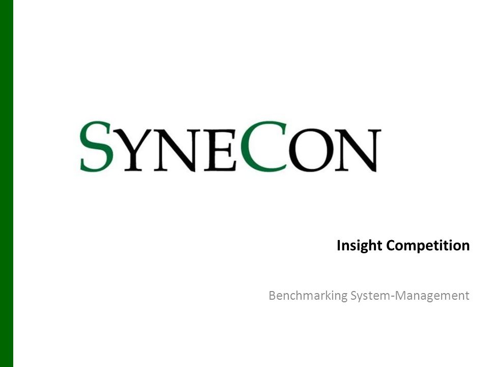 Synecon Management Benchmarking 12 Clear arranged Management Console 26.05.2014 Synecon Management Benchmarking 12 Servertree Navigation Filter Serverlist - Window