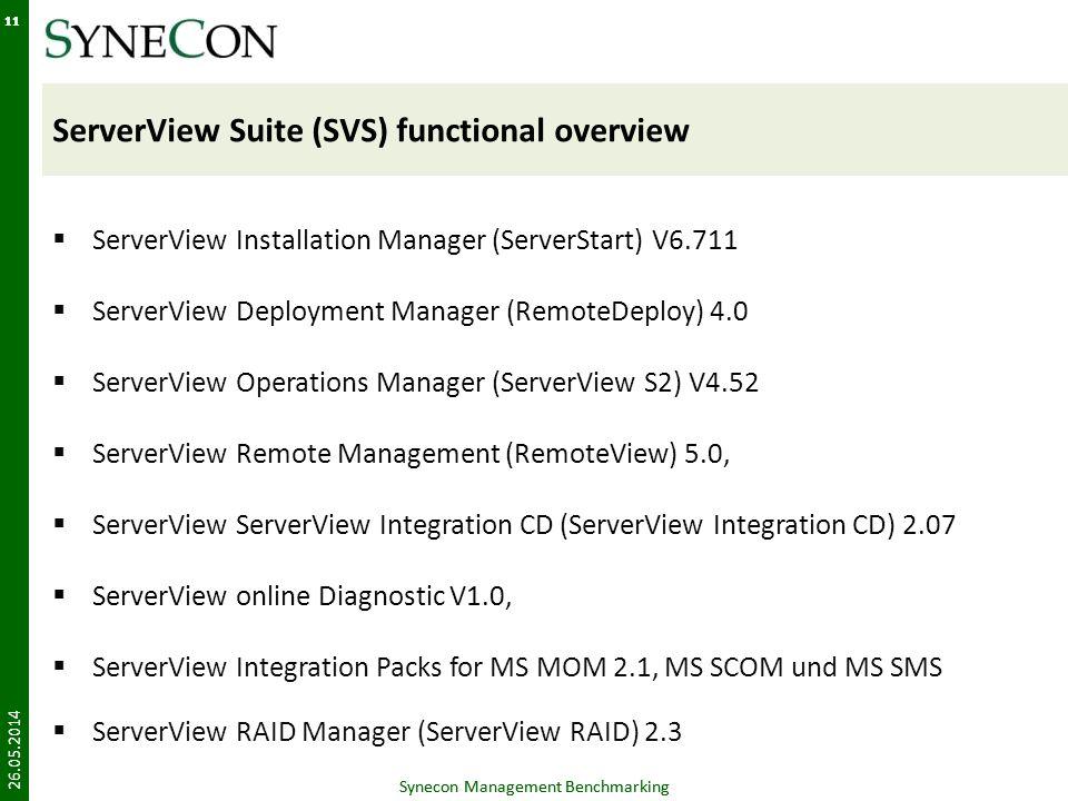 Synecon Management Benchmarking 11 ServerView Suite (SVS) functional overview ServerView Installation Manager (ServerStart) V6.711 ServerView Deployme