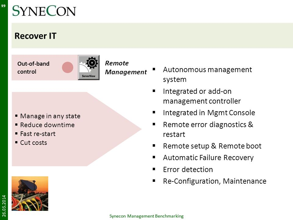 Synecon Management Benchmarking 19 Manage in any state Reduce downtime Fast re-start Cut costs Recover IT Autonomous management system Integrated or a