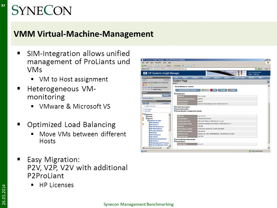 Synecon Management Benchmarking 37 VMM Virtual-Machine-Management SIM-Integration allows unified management of ProLiants und VMs VM to Host assignment