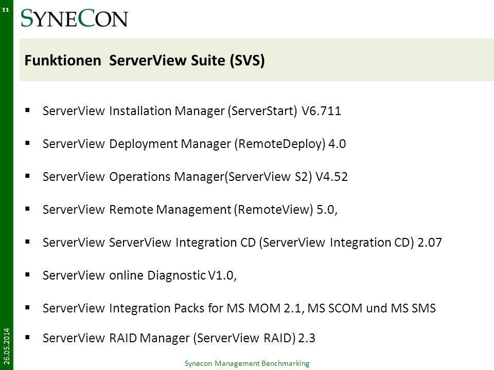 Funktionen ServerView Suite (SVS) ServerView Installation Manager (ServerStart) V6.711 ServerView Deployment Manager (RemoteDeploy) 4.0 ServerView Operations Manager(ServerView S2) V4.52 ServerView Remote Management (RemoteView) 5.0, ServerView ServerView Integration CD (ServerView Integration CD) 2.07 ServerView online Diagnostic V1.0, ServerView Integration Packs for MS MOM 2.1, MS SCOM und MS SMS ServerView RAID Manager (ServerView RAID) 2.3 26.05.2014 Synecon Management Benchmarking 11